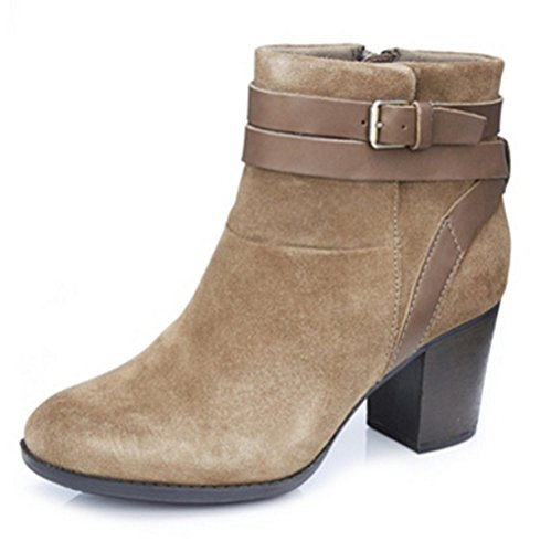 Clarks Enfield River Ankle Boot with Buckle Detail- Wide Fit, Olive (Taupe) Combi, 8 UK, 42 EU