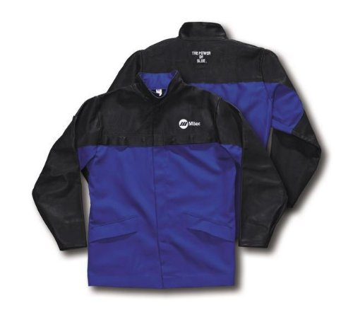 MILLER Combo Weld Jkt, Royal/Blk, Ctn/Leather, 5XL