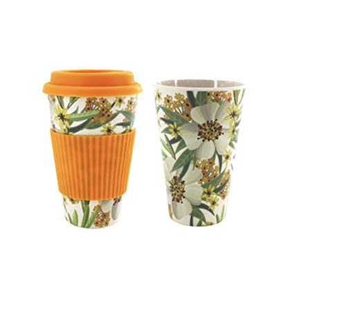 - Takeaway Bamboo Mug with Lid & Spill Stopper Coffee Cup for Travel To Go Plastic & BPA Free Organic Bamboo Fiber (Orange)