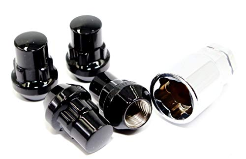 - Set of 4 12x1.25 Veritek Gloss Black Acorn Bulge Tuner 1.40 Inch Wheel Locks for Aftermarket Wheels