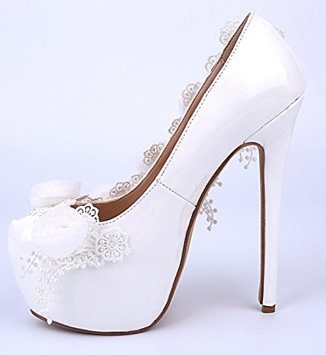 Dress Leather Wedding Stiletto Bridal TDA White Pumps Patent Flowers Beautiful Women's T1FqA0