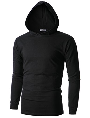 (OHOO Mens Slim Fit Long Sleeve Lightweight Echo Knit Hoodie with Kanga Pocket/DCF110-BLACK-S )