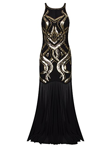 [Vijiv Women's 1920s Beaded Straps A-Line Floor Length Gatsby Prom Evening Dress] (Gatsby Dress Cheap)