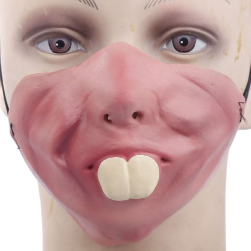 Funny Half Face Silicone Halloween Party Costume Masks (Rabbit Teeth) -