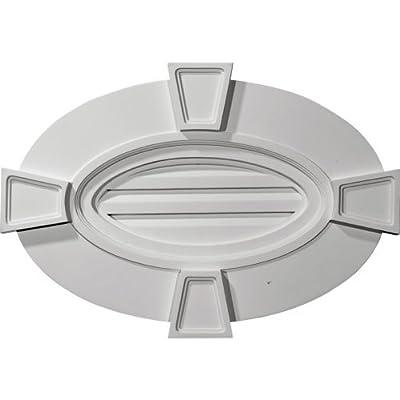 Ekena Millwork GVOV29X20F 29-Inch W x 20-Inch H x 1 3/4-Inch P Horizontal Oval Gable Vent with Keystones, Functional by Ekena Millwork