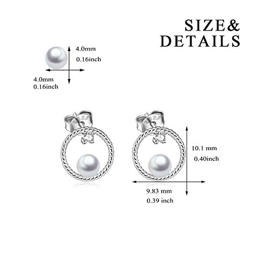 Circle Stud Earrings Sterling Silver Pearl Hoops Rope Circle Ear Studs for Women Girls (Circle Stud Earrings) by POPLYKE (Image #2)
