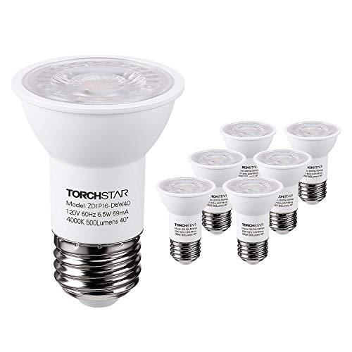 (TORCHSTAR PAR16 DimmableLED SpotLight Bulb, 6.5W (50W Halogen Equivalent), 500lm, 40°BeamAngle,UL & Energy Star Listed Spotlight, 4000K Cool White, E26 Medium Base)