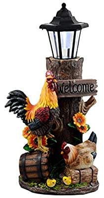 "Ebros Country Farm Rooster Hen And Chicks Family By Sunflowers Solar LED Light Lantern Welcome Sign Statue Path Lighter 18.25""Tall"