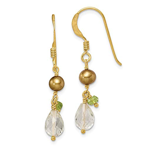 925 Sterling Silver Vermeil Crystal/Green Freshwater Cultured Pearl/peridot Drop Dangle Chandelier Earrings Fine Jewelry Gifts For Women For Her