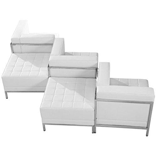 Flash Furniture HERCULES Imagination Series Melrose White Leather 5 Piece Chair & Ottoman Set
