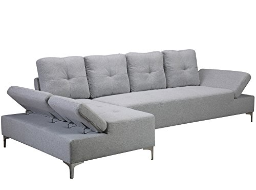 Haper & Bright Designs Sectional Sofa Set With Chaise L Shape Sofa Couch with Metal Legs (Light Gray)