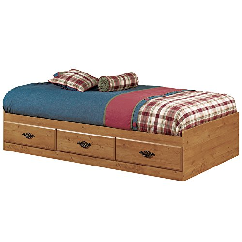South Shore Prairie Collection Twin Bed with Storage - Platform Bed with 3 Drawers - Country Pine Finish ()