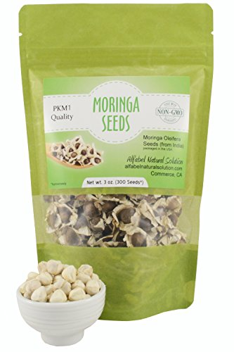 Moringa Oleifera Seeds Non-GMO PKM1 Premium Quality - Organically Grown - Edible - 3 oz. (300 Seeds approximately) Resealable Stand Up Pouch