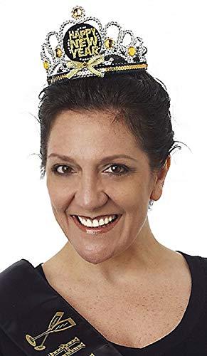 Happy New Years Black Gold and Silver Holiday Tiara Headband