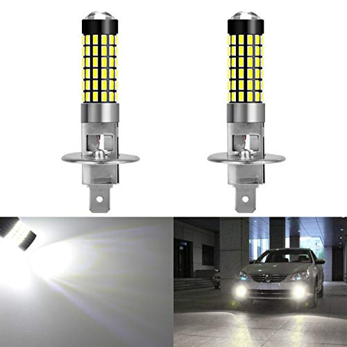 ght Driving Daytime Running Lights 900 Lumens Base Super Bright 3014 78SMD Lens LED Bulbs Car Xenon White 6000K DC 12V-24V ()