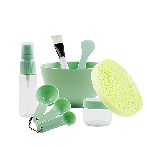 Large Product Image of Teenitor DIY Facemask Mixing Tool Kit with Big Volume Mask Bowl Spatula Brush Spray Bottle Puff Soaking Bottle Gauges Pack of 9 Green