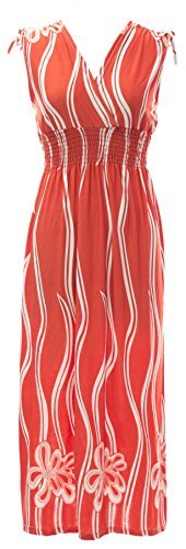 Plum Feathers Poly Span Summer Prints Maxi Dress Wavy Floral Coral 3X