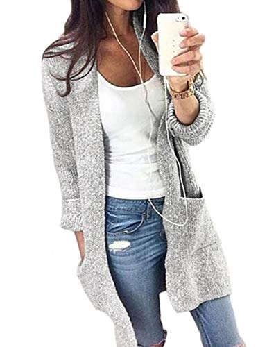 Amiliashp Women's Open Front Loose Causal Cable Knit Long Cardigan Sweater Oversized Outwear Jacket Coat with Pockets