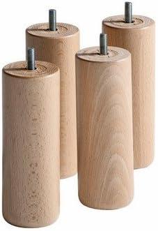 Patas de somier cilíndrico de 20 cm, barniz natural (lote de 4)