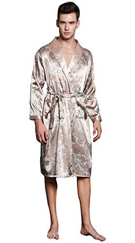 Lounge Print Bathrobe Men's Charmeuse Sleepwear with Pockets Medium A-Camel ()
