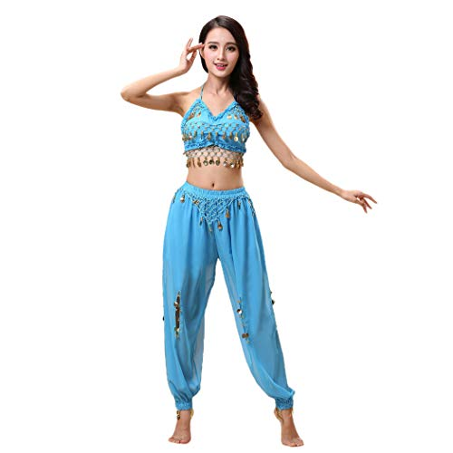 Maylong Lantern Pants Halloween Costume Belly Dance Carnival Outfit DW24 (Sky Blue)