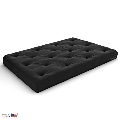Extra Thick Premium 10-Inch Queen Futon Mattress, Black Twill - Made in USA
