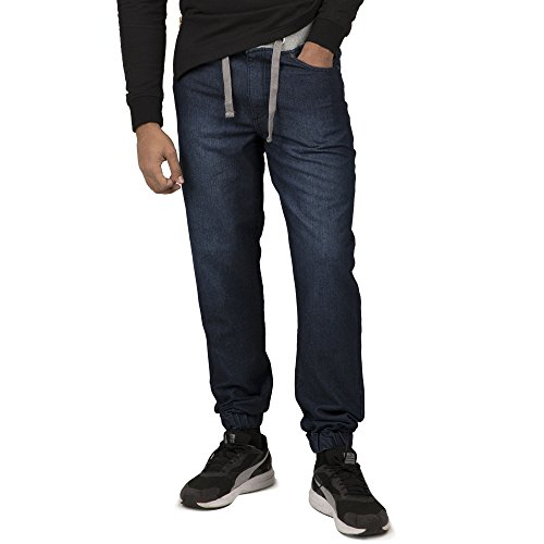 Denim Label Jeans (Vibes Gold Label Men's Indigo Denim Dark Sandblast Washed Jogger Jeans Drawstring Rib Waistband)