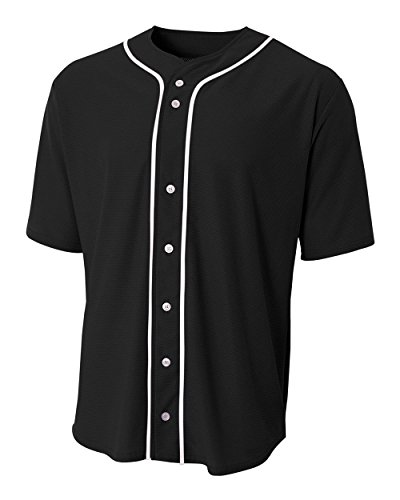 A4 Sportswear Black Youth Medium (Blank) Full-Button Baseball Wicking - Jersey Youth Baseball