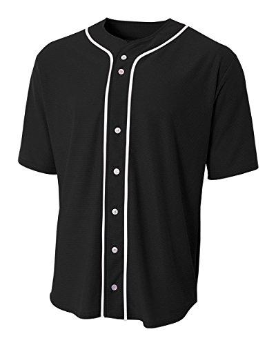 A4 Sportswear Black Adult Small (Blank) Full-Button Baseball Wicking ()