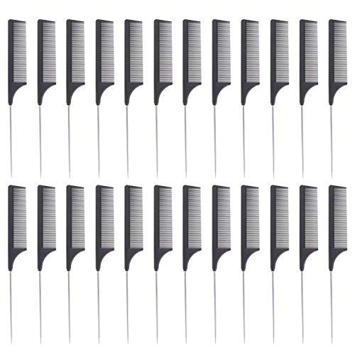 24 Pieces Comb Black Tail Styling Comb Chemical Heat Resistant Teasing Comb Carbon Fiber Hair Styling Combs for Women Men Hair Types Styles