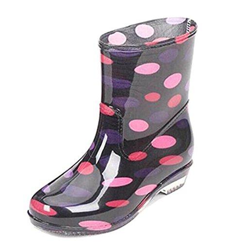 COVOYYAR Women's Cute Dot Short Ankle Rain Boots Rubber Shoes (9, Pink)