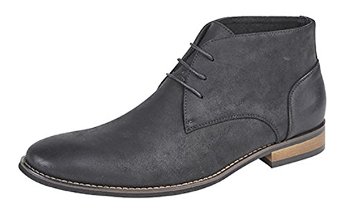 Men's Desert Style Boot with Faux Leather Upper and Leather Lining Distressed Black h7dIC