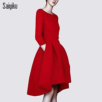 Nuevas Chicas Vestido Vintage Larga Delgada Falda Plisada Vestido Vestido En Rojo,S,Rojo