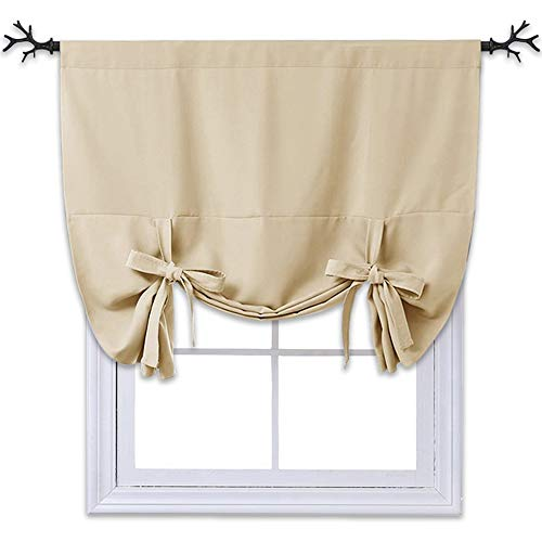 NICETOWN Blackout Room Darkening Curtain - Tie Up Shade Blind Bathroom Window Covering (Cream Beige, Rod Pocket Panel, 46