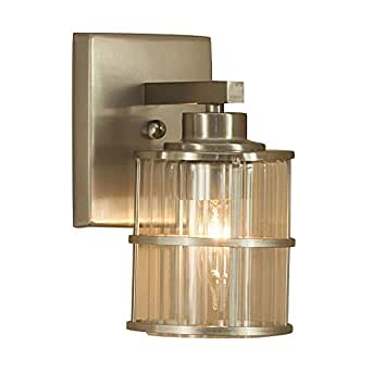 Allen Roth Kenross 1 Light Wall Sconce Glass Shade Brushed Nickel Cage Vanity Light