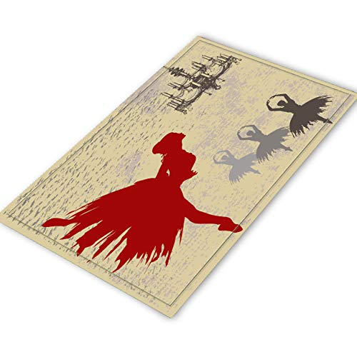 Ballerina Nap Mat - LB Elegant Ballet Area Rug, Vintage Ballerina Dancing Pattern Printed, Comfortable Soft Anti Slip Mat Bedroom Kitchen Entrance Decor, 4x5 ft