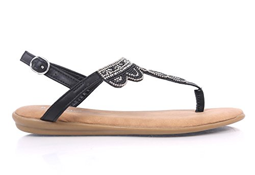 BAMBOO Womens Thong T-strap Flat Sandals Slip-on Slingback Buckle Closure Jewells Beaded Embroidery Shoes (7.5, Black-2)