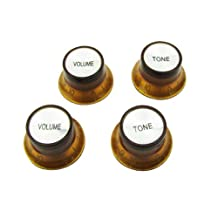 Musiclily Metric Size Plastic Top Hat style 2 Volume and 2 Tone Speed Control Knobs Set for Gibson Les Paul Electric Guitar Replacement,Amber