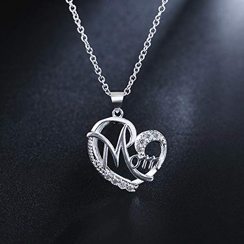 Haluoo Openwork Heart Pendant Necklace,Mother Silver Plated Long Sweater Chain Necklace Diamond Heart Engraved Mom Necklace for Mom Mother Jewelry,18″ Chain Length (Silver)