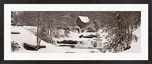 Glade Creek Grist Mill in Winter, Babcock State Park, West Virginia by Panoramic Images Framed Art Print Wall Picture, Espresso Brown Frame, 50 x 21 inches