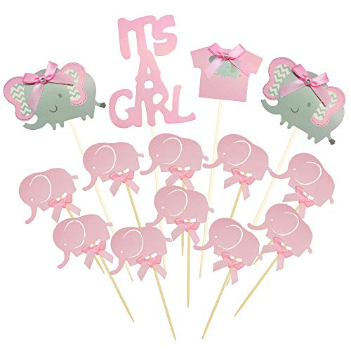 Price comparison product image BTSD-home Pink Elephant Cake Topper Baby Elephant Themed Cupcake Picks It Is A Girl Baby Shower Birthday Party Decorations Supplies