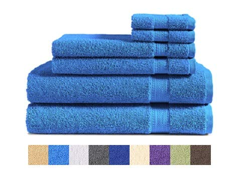 100% Cotton 6-Piece Towel Set (M Blue): 2 Bath Towels, 2 Hand Towels and 2 Washcloths, Classic Amercian Construction, Soft, Highly Absorbent, Machine Washable