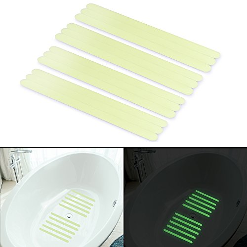 """Basenor Non-Slip Safety Shower Treads, Glow in The Dark Tape 12pcs 11.8"""" Luminous Anti-Slip Strips Adhesive for Bathtubs Showers Stairs and Floors"""