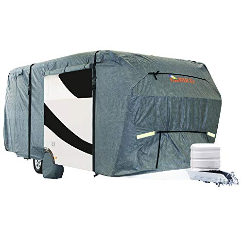KING BIRD Extra-Thick 4-Ply Top Panel & Extra 2Pcs Reinforced Straps, Deluxe Camper Travel Trailer Cover, Fits 18'- 20' RV Cover -Breathable Water-Repellent Anti-UV with Storage Bag&Tire Covers