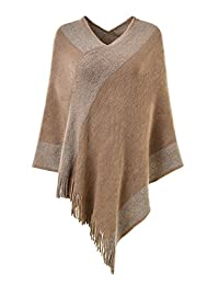 Ferand Stylish Knit Striped V Neck Pullover Poncho with Tassels for Women