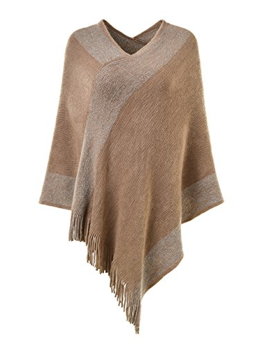 Ferand Stylish Knit Striped V Neck Pullover Poncho with Tassels for Women, One Size, Khaki ()