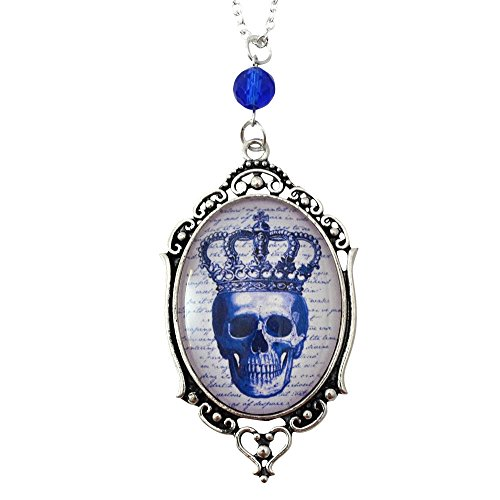 Pirate Skull Cameo Necklace (Royal Skull - Filigree Cameo Necklace - Silver and Royal Blue - Glass Tile)