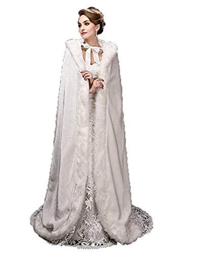 Boda Cálida Chaqueta Mujer Capa Para Blanco Nupcial Fiesta Larga Invierno De OUCw0dxqw