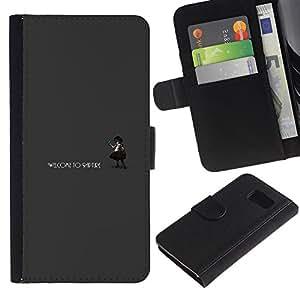NEECELL GIFT forCITY // Billetera de cuero Caso Cubierta de protección Carcasa / Leather Wallet Case for Samsung Galaxy S6 // Bienvenido a Rapture