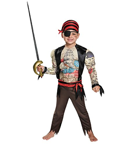 [Disguise 84015M Pirate Toddler Muscle Costume, Medium (3T-4T)] (Original Toddler Halloween Costumes)